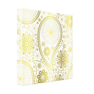 金ゴールドのペーズリーパターン キャンバスプリント