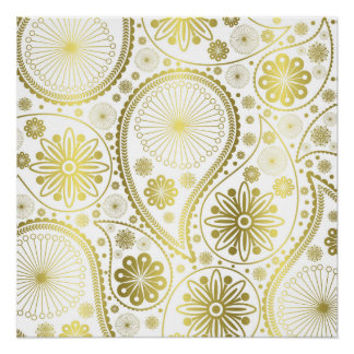 金ゴールドのペーズリーパターン ポスター