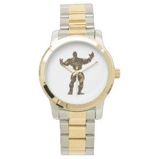 金ゴールドのボディービルダーポンプ時間 腕時計