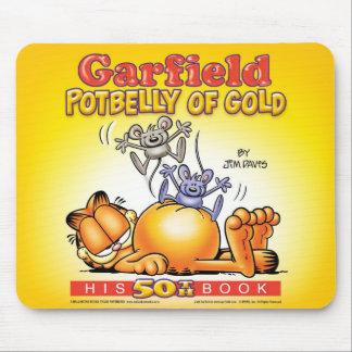 金ゴールドのマウスパッドのガーフィールドの太鼓腹 マウスパッド