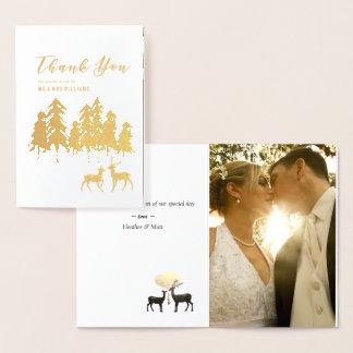 金ゴールドのマツシカの森林結婚式の写真は感謝していしています 箔カード