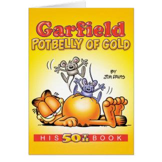 金ゴールドのメッセージカードのガーフィールドの太鼓腹 グリーティングカード