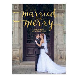 金ゴールドのメリーで、結婚したな2% pipe%の休日の写真の郵便はがき ポストカード