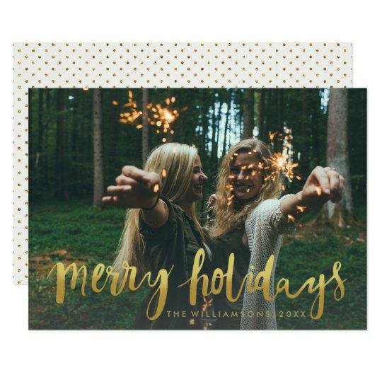 金ゴールドのメリーな休日のモダンなクリスマスの写真 12.7 X 17.8 インビテーションカード