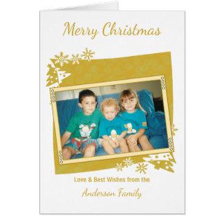 金ゴールドのメリークリスマスの写真 グリーティングカード