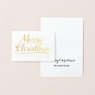 金ゴールドのメリークリスマスの単語の芸術 箔カード