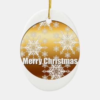 金ゴールドのメリークリスマスの雪片の楕円形のオーナメント セラミックオーナメント