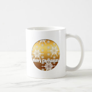 金ゴールドのメリークリスマスの雪片の白のマグ コーヒーマグカップ