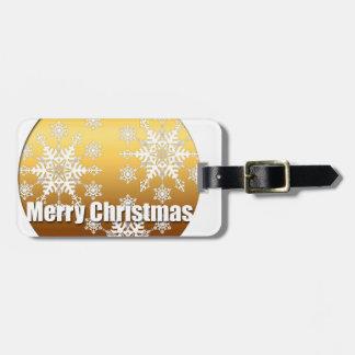 金ゴールドのメリークリスマスの雪片の荷物のラベル ラゲッジタグ
