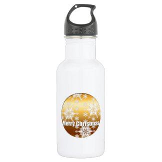 金ゴールドのメリークリスマスの雪片- ウォーターボトル