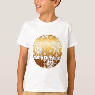 金ゴールドのメリークリスマスの雪片- Tシャツ