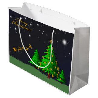 金ゴールドのメリークリスマス ラージペーパーバッグ