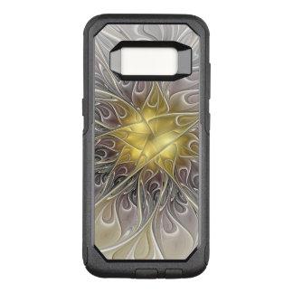 金ゴールドのモダンの抽象芸術のフラクタルの花との華麗さ オッターボックスコミューターSamsung GALAXY S8 ケース