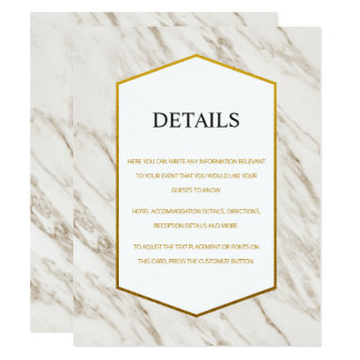 金ゴールドのモダン|の大理石の結婚式の明細カード カード