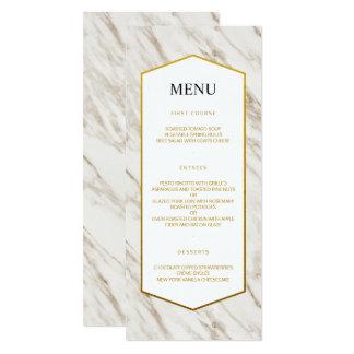 金ゴールドのモダン|の大理石の結婚式メニュー カード