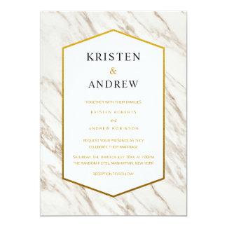 金ゴールドのモダン|の大理石の結婚式招待状 カード