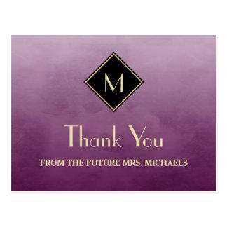 金ゴールドのモノグラムとのエレガントでシンプルな紫色は感謝していしています ポストカード