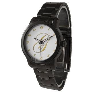 金ゴールドのモノグラムのイニシャルGのカスタムな腕時計 腕時計