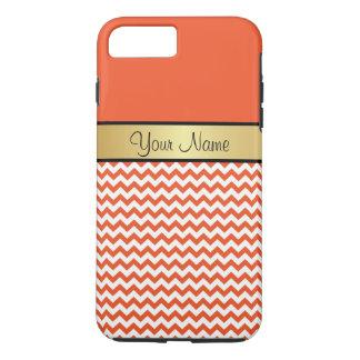 金ゴールドのモノグラムの蜜柑のタンゴオレンジ白いシェブロン iPhone 8 PLUS/7 PLUSケース