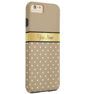 金ゴールドのモノグラム。 シックなヒトデのブラウンの白の水玉模様 シェル iPhone 6 ケース