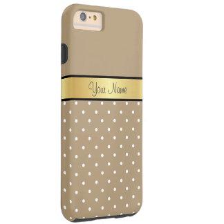 金ゴールドのモノグラム。 シックなヒトデのブラウンの白の水玉模様 TOUGH iPhone 6 PLUS ケース