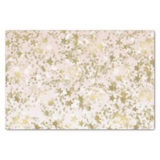 金ゴールドのモモは紙吹雪の抽象芸術を主演します 薄葉紙