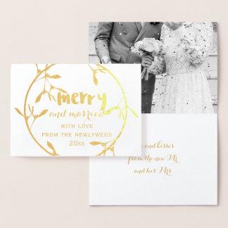 金ゴールドのヤドリギのメリーで、結婚したな写真ホイルカード 箔カード