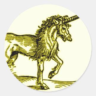 金ゴールドのユニコーンのヴィンテージのプリントc.1551 ラウンドシール