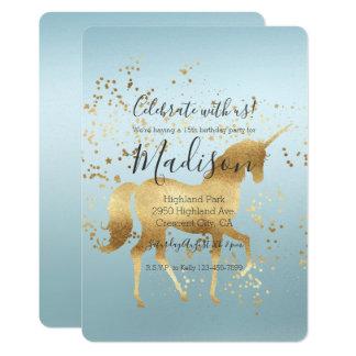 金ゴールドのユニコーンの水のグラデーションな誕生日 カード