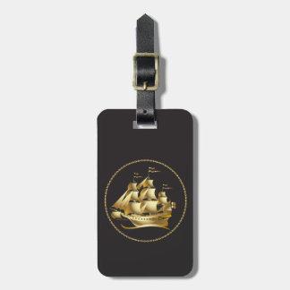 金ゴールドのヨットの航海のな名前入り ラゲッジタグ