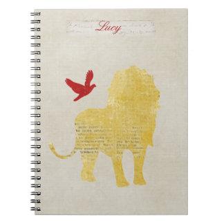 金ゴールドのライオンのシルエットの名前入りなノート ノートブック