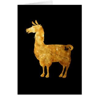 金ゴールドのラマの挨拶状 カード