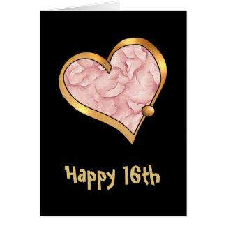 金ゴールドのリボンと輪郭を描かれる愛ハート カード
