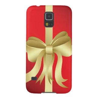 金ゴールドのリボンの赤いクリスマスの休日の現在 GALAXY S5 ケース