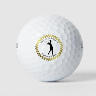 金ゴールドのリースのゴルフシルエット•カスタム ゴルフボール