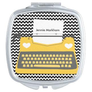 金ゴールドのレトロのタイプライターのシェブロンのコンパクトの鏡