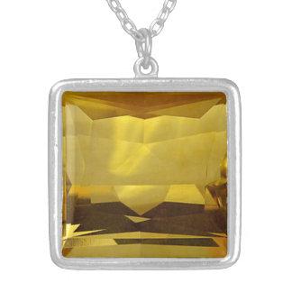 金ゴールドのレモン色 シルバープレートネックレス