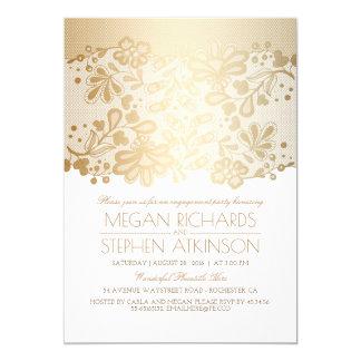 金ゴールドのレースのエレガントなヴィンテージの白の婚約パーティ カード