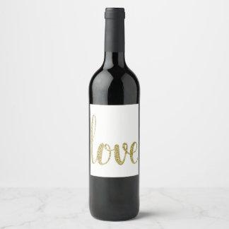 金ゴールドのワインのラベル、愛、グリッター ワインラベル