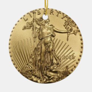 金ゴールドのワシの硬貨 セラミックオーナメント