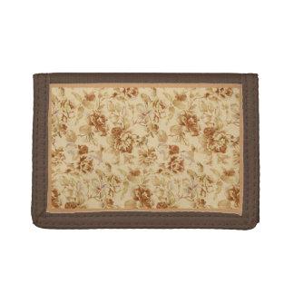 金ゴールドのヴィンテージの花が付いているブラウンの財布