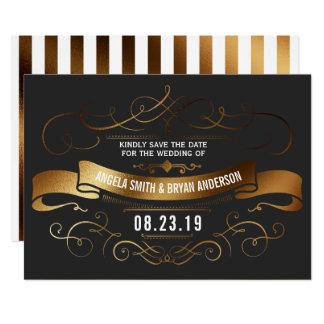 金ゴールドのヴィンテージの華美な保存日付 カード