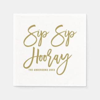 金ゴールドの一口の一口Hooray手の教養がある紙ナプキン スタンダードカクテルナプキン