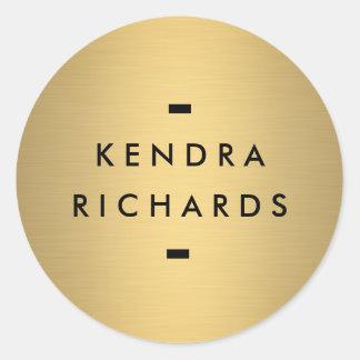 金ゴールドの一流のロゴのステッカー ラウンドシール