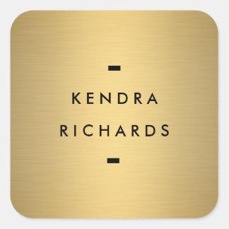 金ゴールドの一流のロゴ スクエアシール