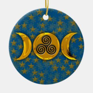 金ゴールドの三重の月は雪片及び三重の螺線形を主演します セラミックオーナメント