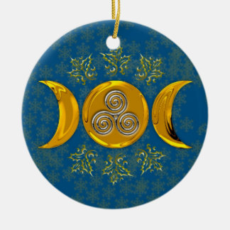 金ゴールドの三重の月、ヒイラギ及び銀製の三重の螺線形 セラミックオーナメント
