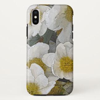 金ゴールドの中心を持つ白いシャクヤク iPhone X ケース