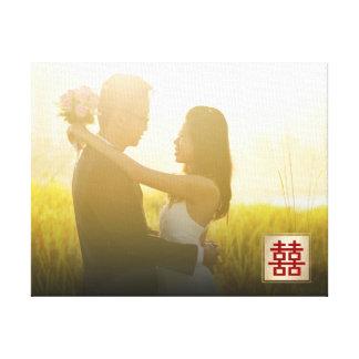 金ゴールドの二重幸福の中国のな結婚式の写真のキャンバス キャンバスプリント