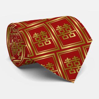 金ゴールドの二重幸福の中国のな結婚式の東洋のタイ ネクタイ